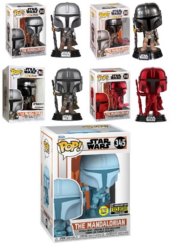 Product image - 345 The Mandalorian Common Figure - Chrome Amazon Exclusive - Special Edition - Red Chrome Target Exclusive and GITD Entertainment Earth Exclusive